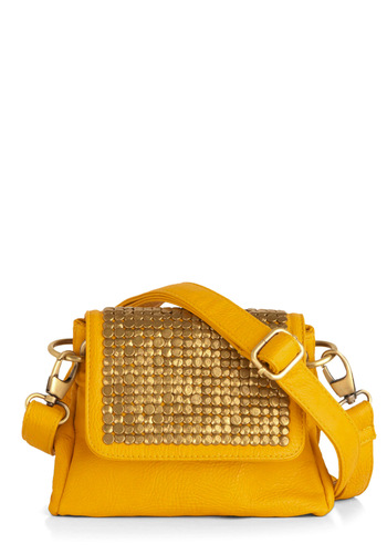 Bouton D'or Bag - Yellow, Gold, Solid, Pockets, Studs