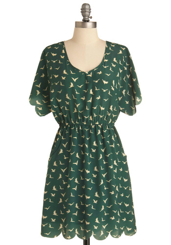 Aerial Together Now Dress - Green, Tan / Cream, Short Sleeves, Casual, Print with Animals, Cutout, Pockets, Scallops, Sheath / Shift, Short