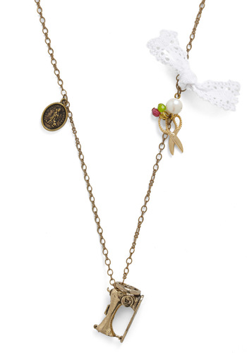 Sew Charming Necklace - White, Gold, Bows, Chain, Crochet, Lace, Rhinestones, Party, Casual