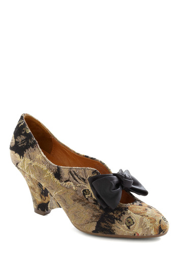 Abbey Tabby Heel by Jeffrey Campbell - Black, Print with Animals, Bows, Tan, Brown, Casual, Statement, Mid