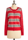 Quill You Be There? Cardigan - Mid-length, Red, Black, White, Stripes, Buttons, Long Sleeve, Casual, Vintage Inspired