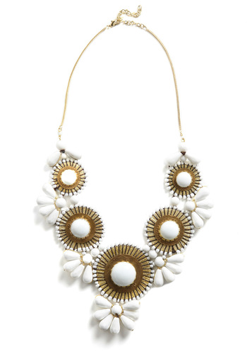 Stop, Elaborate, and Glisten Necklace - Statement, Gold, White, Beads, Chain, Party