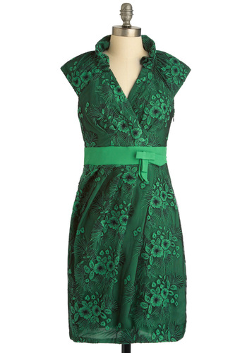Ain't Over Until It's Clover Dress by Eva Franco - Mid-length, Green, Black, Floral, Embroidery, Vintage Inspired, Luxe, Shift, Cap Sleeves, Party