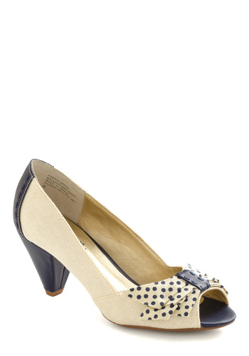 Mixed Emotions Heel by Seychelles - Cream, Blue, Polka Dots, Bows, Party, Statement, Spring