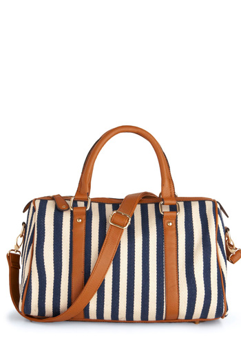 A Coast Call Bag - Casual, Nautical, Stripes, Trim, Blue, Brown, White