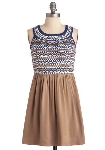 On the Skein Dress - Short, Woven, Sleeveless, Twofer, Casual, Brown, Blue, White, Knitted