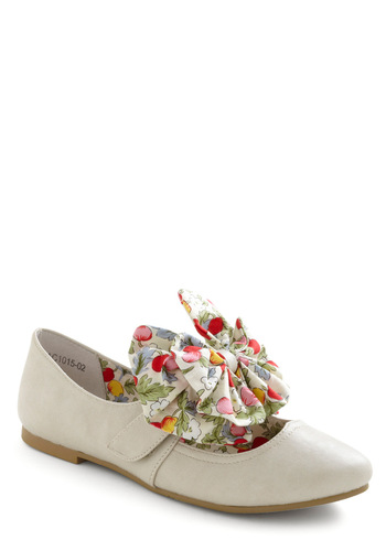 Fly the Drupe Flat - White, Multi, Solid, Novelty Print, Bows, Spring, Fruits