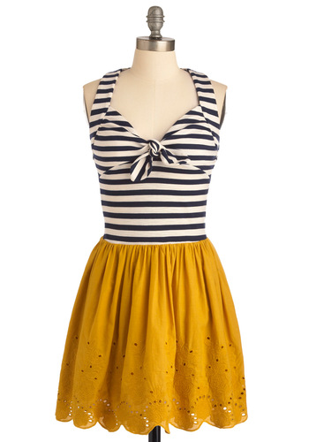 Maritime of Your Life Dress - Mid-length, Black, White, Stripes, Halter, Twofer, Casual, Nautical, Multi, Yellow, Floral, Bows, Eyelet, Scallops, Spring