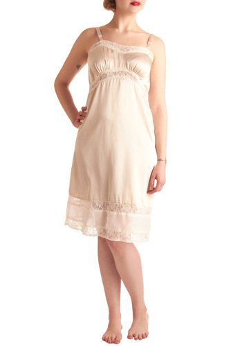 Elegance at Its Best Full Slip in Ivory - Mid-length, Cream, Lace, Spaghetti Straps