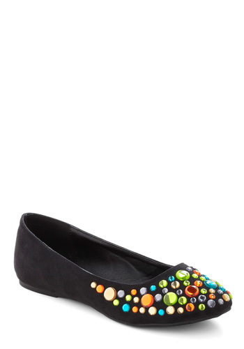 Jewel Love It Flat - Black, Orange, Green, Blue, Silver, Gold, Rhinestones, Casual, Solid