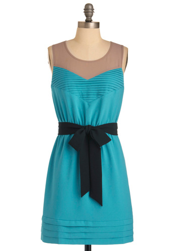 Synchronized Stunning Dress - Mid-length, Blue, Tan / Cream, Black, Bows, Sleeveless, Pleats, Casual, Shift