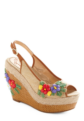 Weave Me Speechless Wedge by Poetic License - Tan, Multi, Solid, Flower, Boho, 70s, Wedge