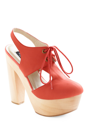 Let's Red Rock and Roll Heel - Orange, Tan / Cream, Cutout, Solid, Casual, High, Best, T-Strap