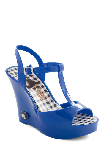 Show Starting Heel in Blue - Blue, Buckles, Solid, Casual, Summer, Wedge, High, Good, T-Strap
