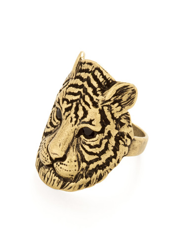 Grr Power Ring - Safari, Gold, Black, Rhinestones, Print with Animals