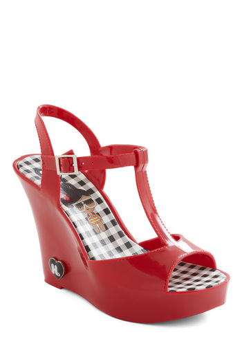 Show Starting Heel in Red - Red, Buckles, Solid, Casual, Summer, Wedge, High, Good, T-Strap