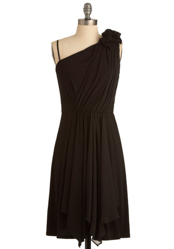 Hibiscus at the Hop Dress in Black - Mid-length, Black, Solid, Shift, One Shoulder, Ruffles, Special Occasion, Wedding, Spaghetti Straps