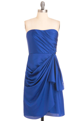Strapless is More Dress - Blue, Solid, Shift, Strapless, Special Occasion, Prom, Wedding, Ruffles, Mini, Long