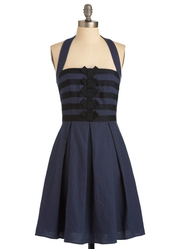 Recital from Memory Dress - Mid-length, Blue, Black, Solid, Bows, Pleats, A-line, Halter, Casual, Nautical