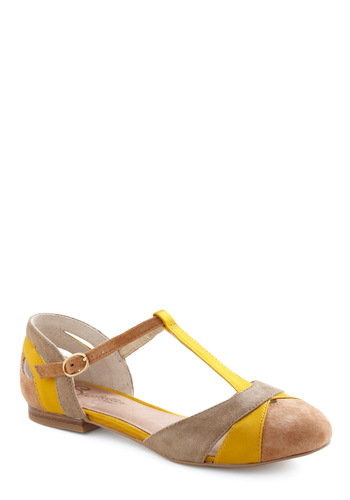 Freesia Flat by Seychelles - Tan / Cream, Buckles, Casual, Spring, Yellow, Grey, Better, T-Strap