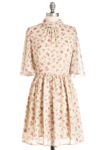 Amy Flying a Kite Dress - Mid-length, Pink, Floral, Buttons, Pleats, A-line, Short Sleeves, Multi, Tan / Cream, White, Polka Dots, Spring, International Designer