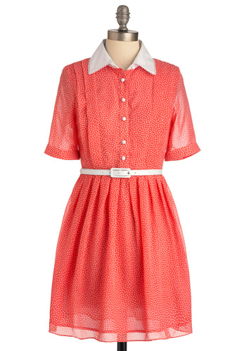 Midday Market Dress - Mid-length, Orange, White, Polka Dots, Buttons, Short Sleeves, Casual, Vintage Inspired, Buckles, Pleats, Shirt Dress, Print, International Designer
