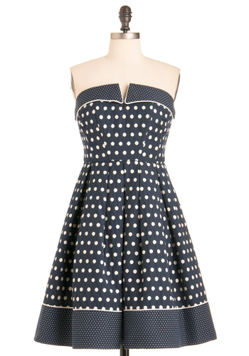 Near and Fair Dress - Blue, White, Polka Dots, Pleats, A-line, Strapless, Casual, Nautical, Pockets, Summer, Print, Long