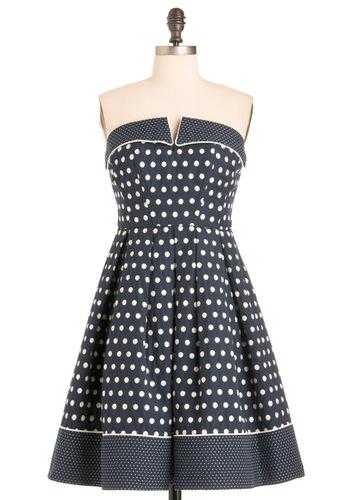 Near and Fair Dress - Blue, White, Polka Dots, Pleats, A-line, Strapless, Casual, Nautical, Pockets, Summer, Print, Long