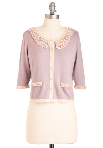 Shining Moment Cardigan by Darling - Short, Purple, Buttons, Pearls, Peter Pan Collar, Trim, 3/4 Sleeve, Tan / Cream, Solid, Beads, Work, Vintage Inspired, 60s
