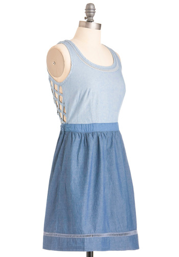Jean and Heard Dress by Gentle Fawn - Blue, Solid, Cutout, A-line, Casual, Boho, Backless, Pockets, Woven, Sleeveless, Summer, Short