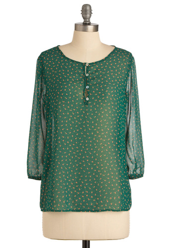Wanna Go Farm Away Top - Mid-length, Casual, Green, Red, Pink, White, Floral, Buttons, Long Sleeve, Polka Dots, Spring