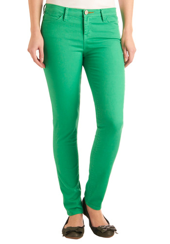 Days of Bold Jeans by Dittos - Mid-length, Green, Solid, Pockets, Casual, Spring, Denim