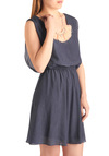 Simple Solution Dress - Mid-length, Blue, Solid, Buttons, A-line, Sleeveless, Casual