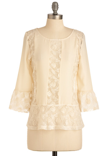Monterey Bay Top - Mid-length, Cream, Solid, Lace, 3/4 Sleeve, Casual, Boho, Buttons