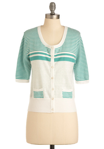 Story of the Sea Cardigan - Short, Green, Polka Dots, Stripes, Buttons, Pockets, 3/4 Sleeve, Casual, Spring, White