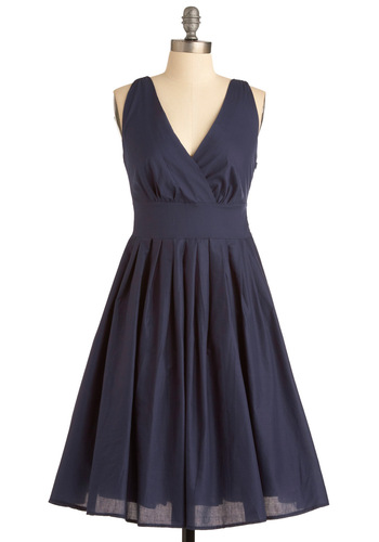 Glamour Power to You Dress in Navy - Blue, Solid, Pleats, A-line, Sleeveless, Long, Cocktail, Cotton, Fit & Flare, V Neck, Variation, Daytime Party