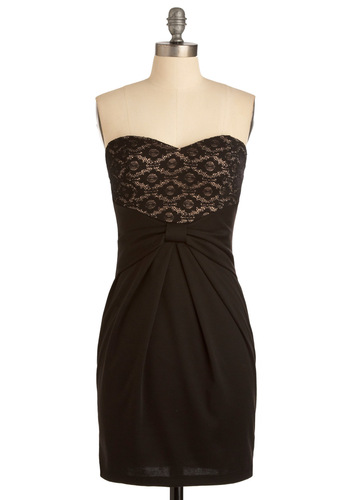 Romance is Near Dress - Black, Solid, Bows, Lace, Sheath / Shift, Strapless, Formal, Pleats, Party, Mini, Mid-length