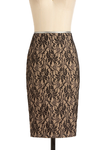 Luncheon Chic Skirt - Long, Black, Tan / Cream, Floral, Lace, Silver, Exposed zipper, Party, Pencil, High Waist