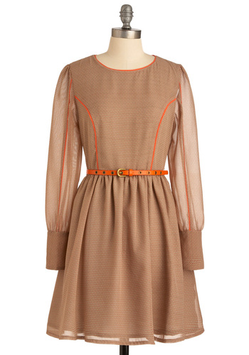 Skip and Bound Dress by Darling - Mid-length, Tan, Orange, Print, Buttons, A-line, Long Sleeve, Buckles, Work