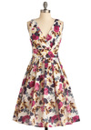 Glamour Power to You Dress in Roses - Wedding, Multi, Floral, Pleats, A-line, Sleeveless, Blue, Purple, Pink, Brown, Tan / Cream, White, Spring, Summer, Long, Fit & Flare