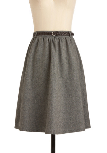 Grey-t Things Ahead Skirt - Mid-length, Grey, Braided, Buckles, Work, Solid, A-line, Fall, Winter