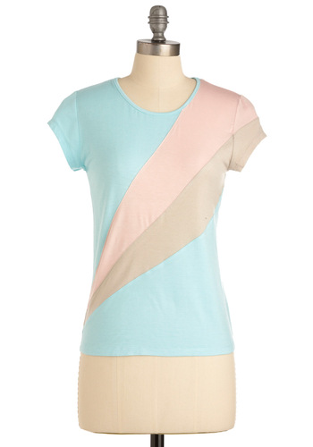 Miami Amor Top - Casual, Blue, Pink, Tan / Cream, Short Sleeves, Mid-length