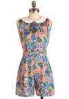 Romper Through the Roses - Pink, Green, Blue, White, Floral, Bows, Peter Pan Collar, Pockets, Sleeveless, Multi, Casual, Spring, Long