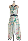 A La Cartography Dress by Eva Franco - Casual, Statement, Blue, Multi, Red, Green, Pink, White, Buckles, Cutout, Handkerchief, Sheath / Shift, Halter, Travel, Print, Long, Belted, Tis the Season Sale