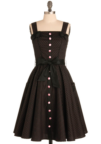 Sweet Temptation Dress - Show On Featured Sale, Rockabilly, Pinup, 50s, Cotton, Long, Belted, Button Down, Fit & Flare, Polka Dots