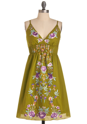 New Zeal Dress - Mid-length, Green, Floral, Embroidery, Spaghetti Straps, Casual, Boho, Multi, Yellow, Blue, Purple, White, Empire, Summer, Cotton