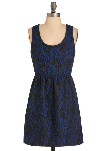 Prague Frock Dress - Blue, Black, Floral, Lace, A-line, Sleeveless, Party, Exposed zipper, Short