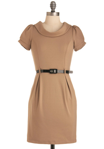 Jill of All Trades Dress in Founder - Work, Tan, Solid, Pockets, Shift, Short, Short Sleeves, Belted, Scholastic/Collegiate