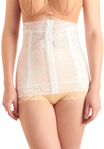Wearer's Pride Waist Corselet in White by Rago - White, Floral, Lace, Pinup, Sheer, Variation, Boudoir, Best Seller, Bride, Lace, Wedding, 40s, 50s, Best Seller