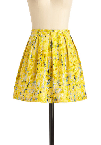 Process of Lemon-ation Skirt by Jack by BB Dakota - Yellow, Print, Blue, Black, White, Pleats, Casual, A-line, Short